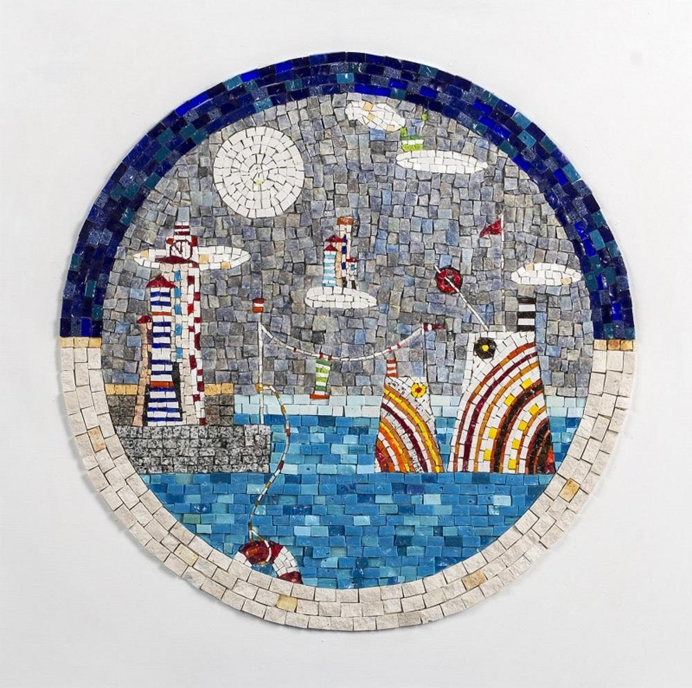 Brod Grad mozaik Boat City mosaic Ljiljana Rivic