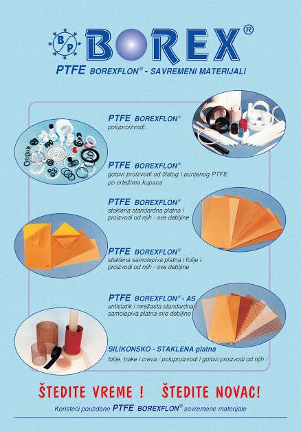 Borex doo Mladenovac proizvodi od politetrafluretilen PTFE materijala