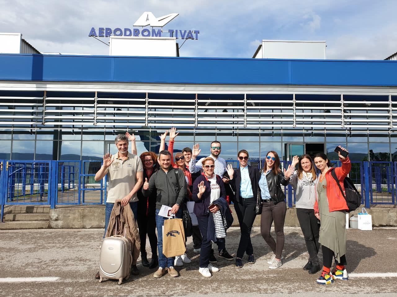 predstavnici medija iz srbije na aerodromu tivat maj 2019