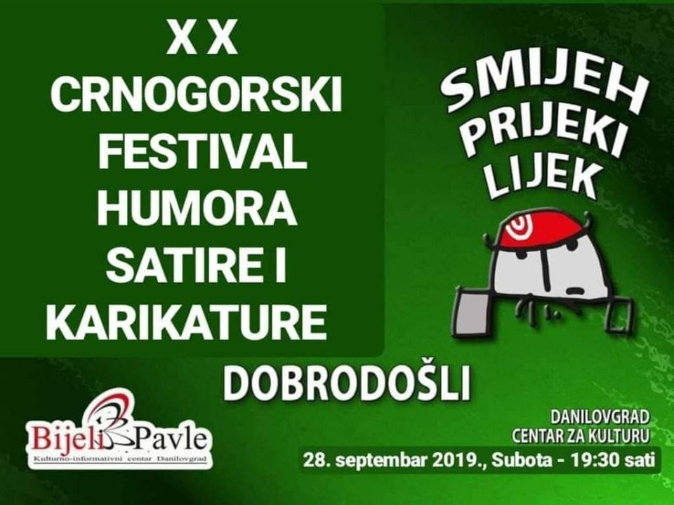 plakat XX crnogorski festival humora satire i karikature 2019 danilovgrad