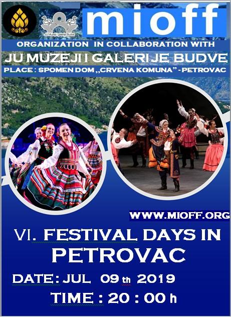 plakat medjunarodni folklorni festival julski festivalski dani u petrovcu jul 2019 petrovac