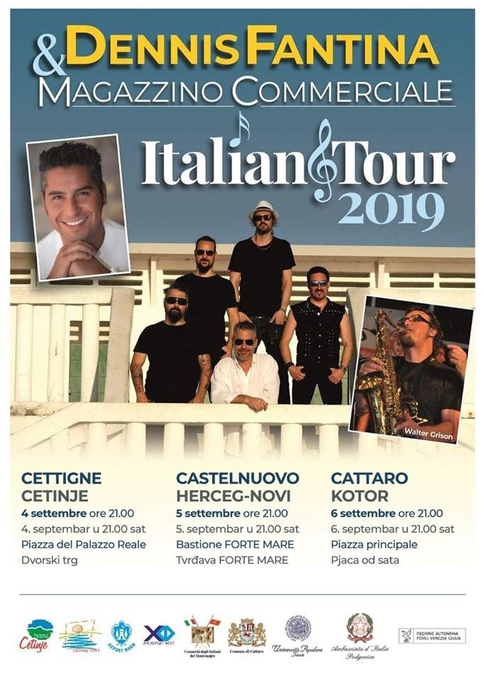 plakat vece italijanske muzike 2019 dennis fantina i magazzino commerciale