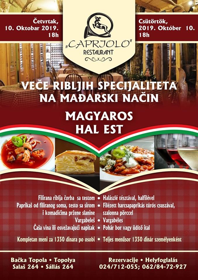 plakat_vece_ribljih_specijaliteta_na_madjarski_nacin_2019_restoran_capriolo_backa_topola