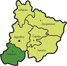 Geografski položaj opštine Rekovac